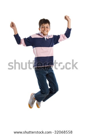 Adorable child jumping on a over white background - stock photo