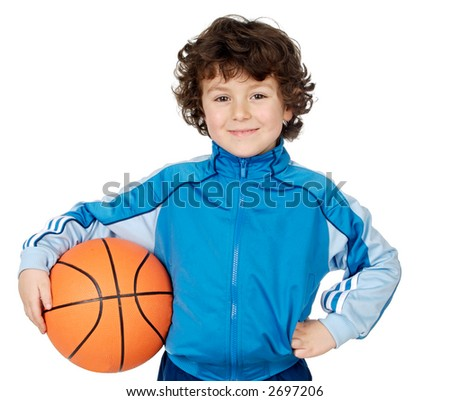 adorable child playing the basketball a over white background - stock photo
