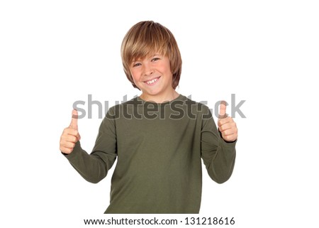 Adorable child saying OK isolated on a over white background - stock photo