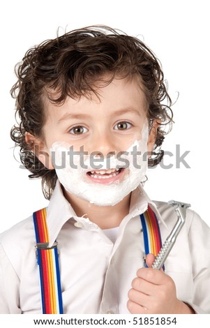 Adorable child shaving over a white background - stock photo