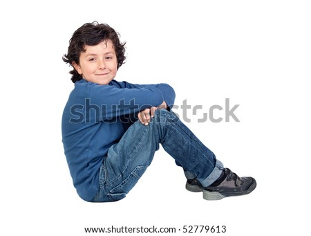 Adorable child sitting on the floor isolated on white background