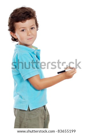 Adorable child student whit a pen isolated on a over white background - stock photo