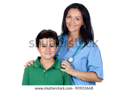 Adorable child with a pediatrician woman isolated on white background - stock photo
