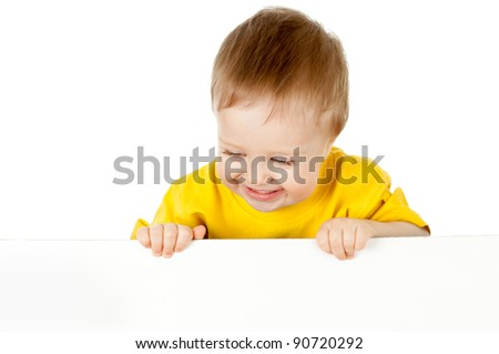 adorable child with blank advertising banner - stock photo