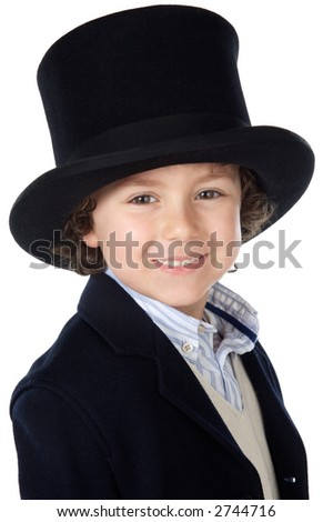 Adorable child with hat a over white background - stock photo