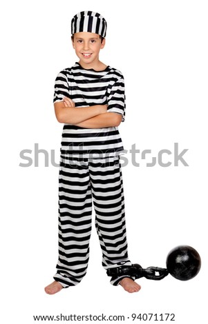 Adorable child with prisoner ball isolated on white background - stock photo