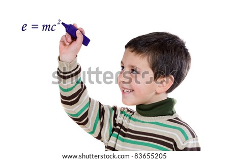 Adorable child writing on a over white background - stock photo