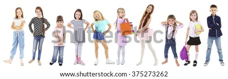 Adorable children isolated on white - stock photo