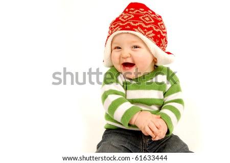 Adorable Christmas Baby - stock photo