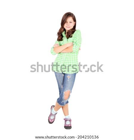 adorable coquette smiling girl closeup - stock photo