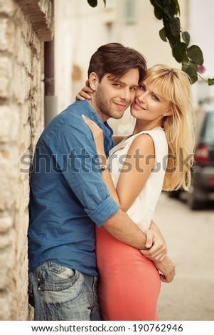 Adorable couple - stock photo