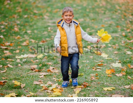 Adorable cute boy with autumn leaves in the beautiful park - stock photo