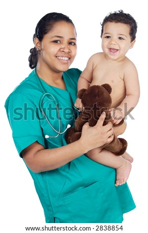 Adorable doctor with a baby in her arms a over white background - stock photo