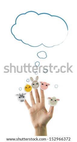 Adorable domestic animals stickers on hand, isolated on white - stock photo