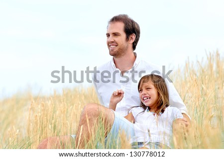 adorable father and daughter have fun together happy healthy lifestyle smiles