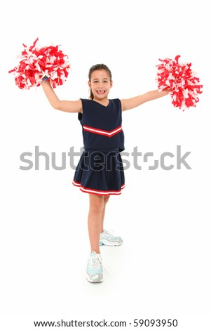 Adorable five year old french-american girl cheerleader over white in uniform with pompoms.