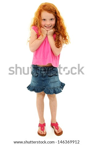Adorable Girl Child Surprised Expression over White. - stock photo