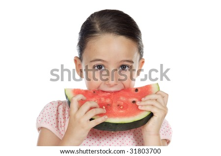 adorable girl eating watermelon a over white background - stock photo