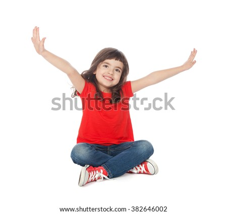 Adorable girl having great time, isolated on white - stock photo