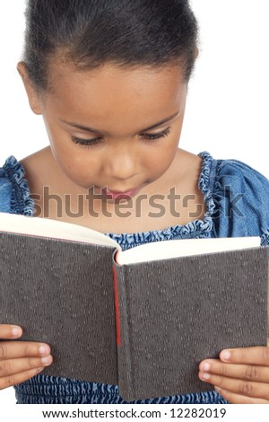 adorable girl reading a over white background - stock photo