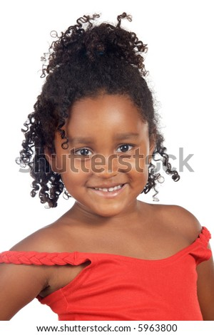 adorable girl smiling a over white background