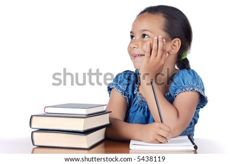 adorable girl studying in the school a over white background - stock photo