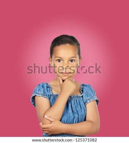Adorable girl thinking isolated on a pink background - stock photo