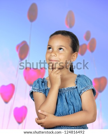 Adorable girl thinking with many ballons - stock photo