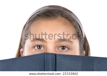 Adorable girl with a book on a over white background - stock photo