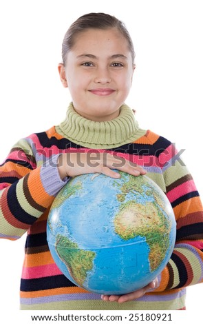 Adorable girl with a globe of the world over white background