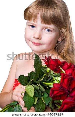 adorable girl with bouquet of red roses isolated over white background - stock photo