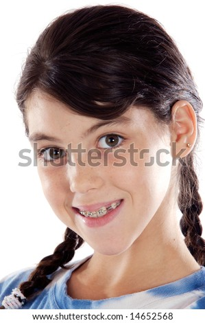 Adorable girl with braces a over white background - stock photo