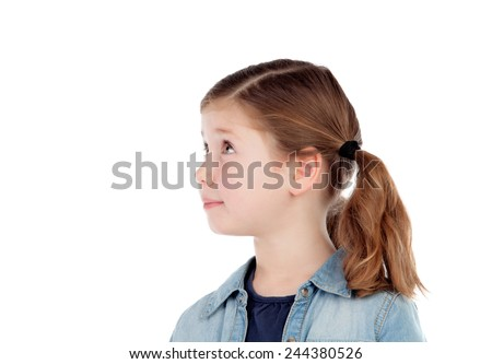 Adorable girl with pigtails looking at side isolated on a white background - stock photo