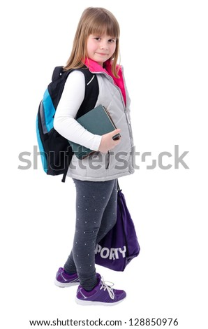 Adorable girl with school equipment - stock photo