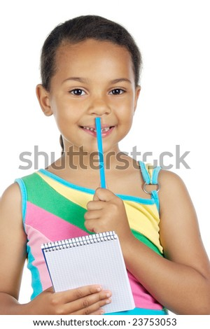 adorable girl writing a over white background - stock photo