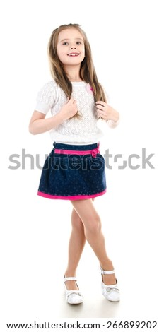 Adorable happy little girl posing isolated on a white - stock photo