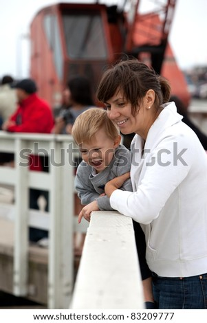 Adorable happy toddler and his mother watching wildlife from a pier - stock photo
