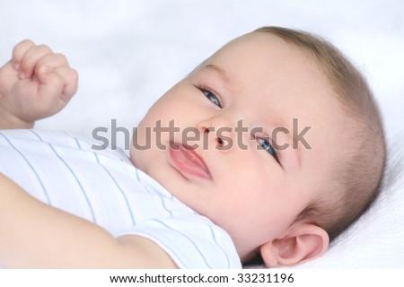 Adorable infant / baby boy portrait, suitable for parenting, childhood, motherhood themes - stock photo