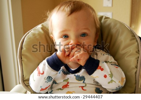 Adorable Kid after Breakfast - stock photo