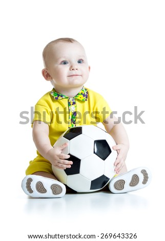 adorable kid boy with foot ball isolated on white background - stock photo