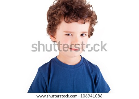 Adorable kid over white background - stock photo