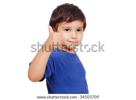 Adorable kid with thumb up and cute face expression - stock photo