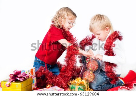 adorable kids preparing for Christmas isolated on white - stock photo
