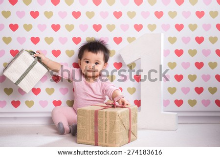 Adorable little baby girl laughing, creeping & playing in the studio, isolated on white background.  - stock photo