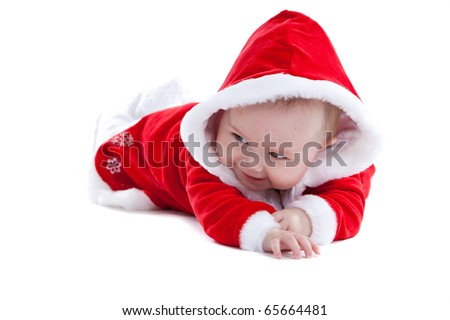 Adorable little baby girl on white background with christmas dress