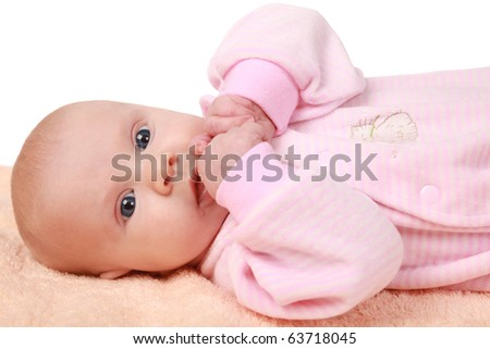 adorable little babygirl isolated on white