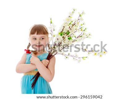 Adorable little blonde girl with short bangs and braids which are plaited red bows , in a long blue dress hugs bouquet of white flowers - isolated on white background - stock photo