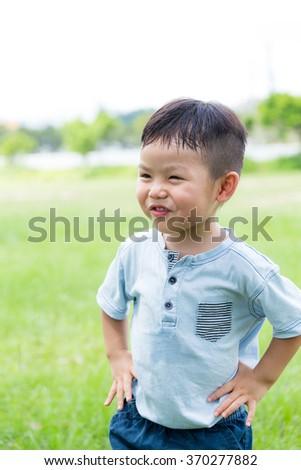 Adorable little boy at outdoor - stock photo
