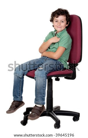 Adorable little boy sitting on big chair isolated on white. - stock photo