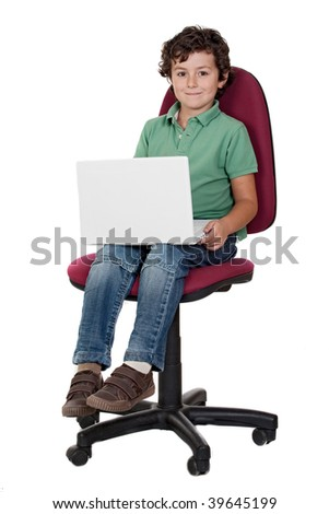 Adorable little boy sitting on big chair with laptop isolated on white. - stock photo